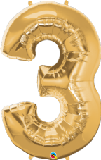 Number 3 Gold Super Shape Number Foil Balloon